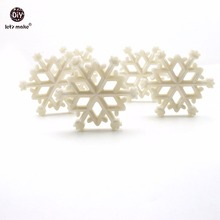 Lets Make Baby Teether Pearl White Snowflakes Christmas Pendants 10pc Can Chew Transparent DIY Jewelry Nursing Necklace Teether