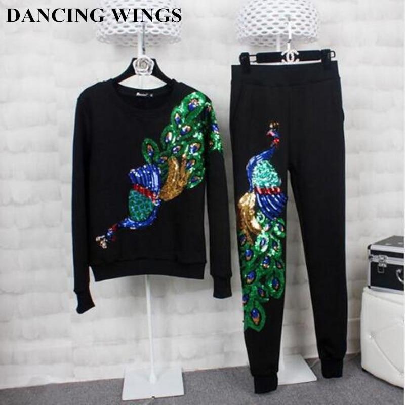 Jesen i zima Ženske dukserice s okruglim vratom, vezeni paunovi kombinezoni s dugim rukavima plus Debele baršunaste hlače ženske TZ-7