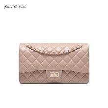 100% genuine leather messenger chains flap bag women classic sheepskin handbag totes shoulder bag red black beige white pink