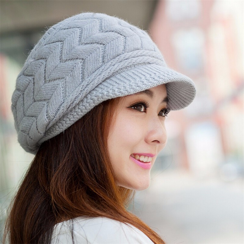new design warm and cute hat with velvet inside female winter knitted beret  hat with brim Fashion Skullies Elegant ladies-in Berets from Apparel  Accessories ... dd56479180a
