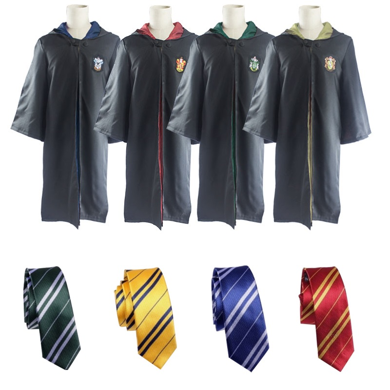 Kids Harri Potter Magic Robe Cloak with Tie Scarf performance costume Gryffindor Slytherin Hufflepuff Cosplay Costume for Adult