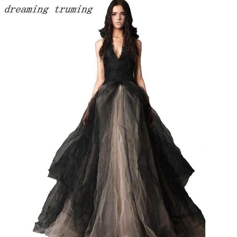 01c665d011ae Traditional Custom Made Black Wedding Dress Gothic Halter Neck Open Back  Floor length Puffy Tulle Ruffles