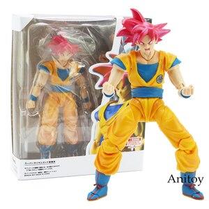 SHF фигурки Dragon Ball Супер Saiyan God Son Goku красные волосы Gokou Dragon-Ball ПВХ фигурка Коллекционная модель игрушки 15 см