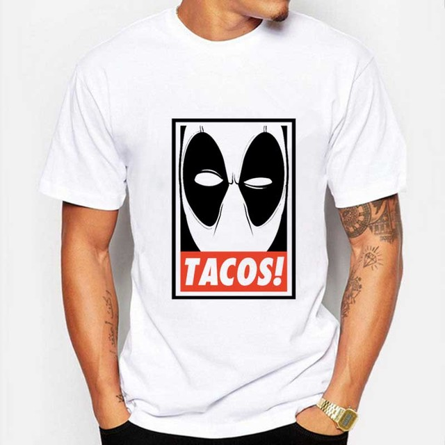 Mens Deadpool Marvel T-Shirt Gray/White Short Sleeve Tshirts