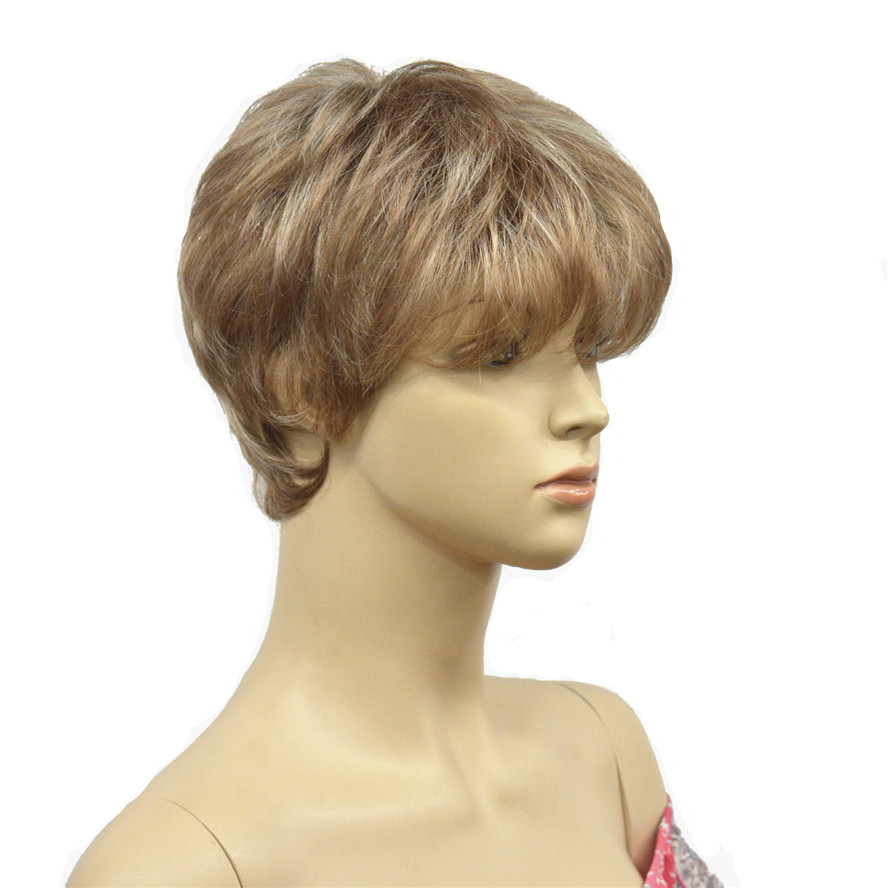 StrongBeauty Women's Wigs Natural Fluffy Short Straight Hair Light Brown Blonde Highlights Synthetic Full Wig