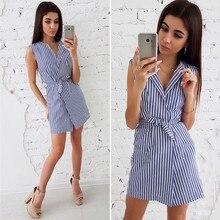 Women Summer Belt Tie up Work Office Striped Sleeveless Short Mini Dress Cute