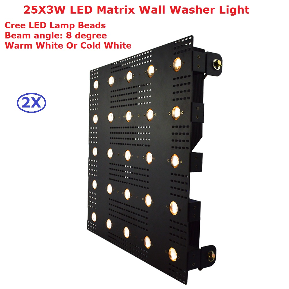 2Pcs/Lot 25 Head LED Matrix Beam Lights For Stage Background 25X3W Warm White CREE Lamp Beads LED Stage Wash Effect Lights 4piece lot 3x3 led matrix moving head light matrix rgbw 4in1 9x10w led cree led stage lights