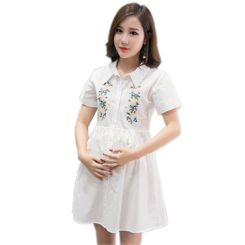 US $17.37 42% OFF|Maternity Clothes Dresses for Pregnant Women Fashion Doll  Collar Embroidered Loose Plus Size Breastfeeding Dress Pregnancy Dress-in  ...