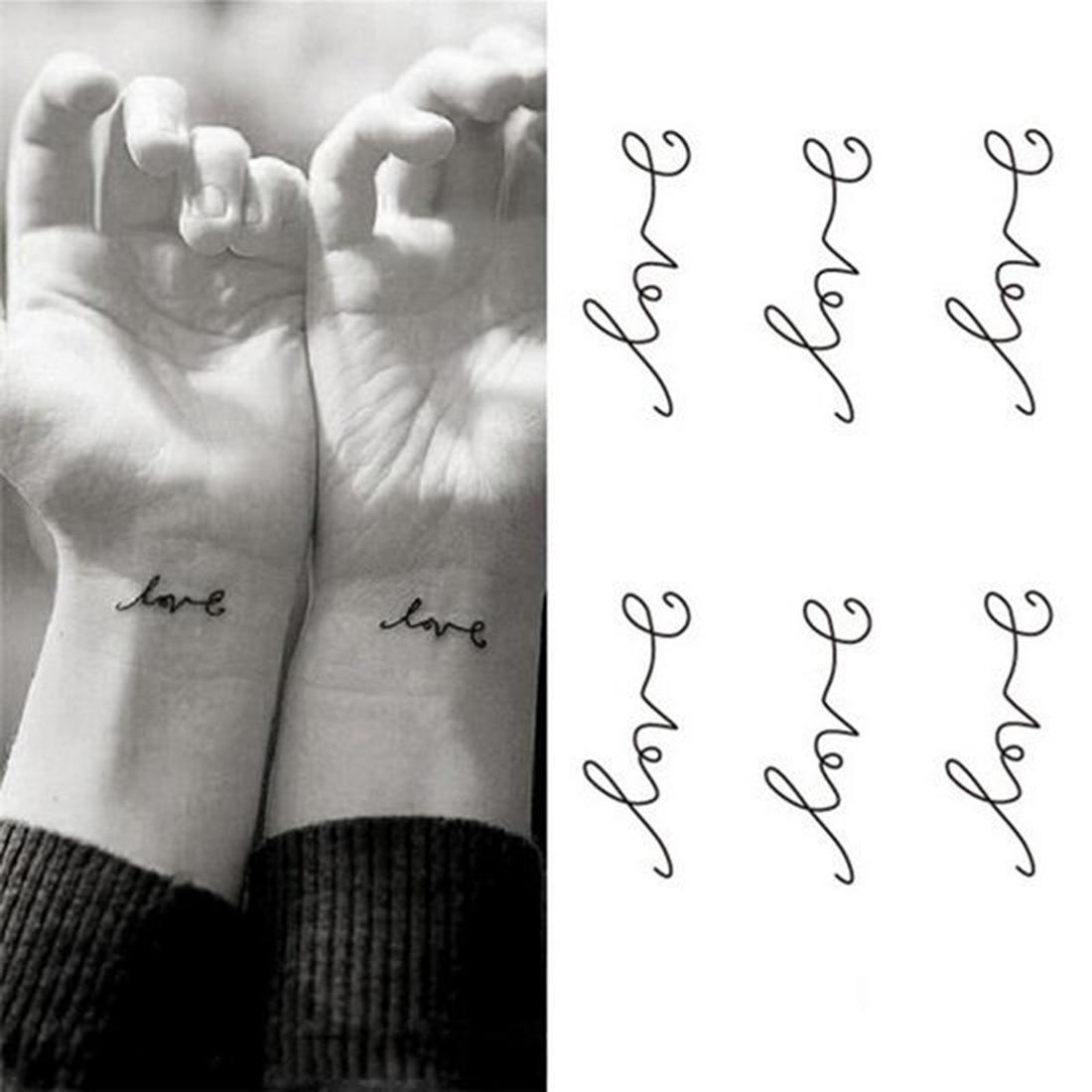 Waterproof Temporary Tattoo Sticker Letters Love Tattoo Water Transfer Fake Tattoo Flash Tattoo For Unisex