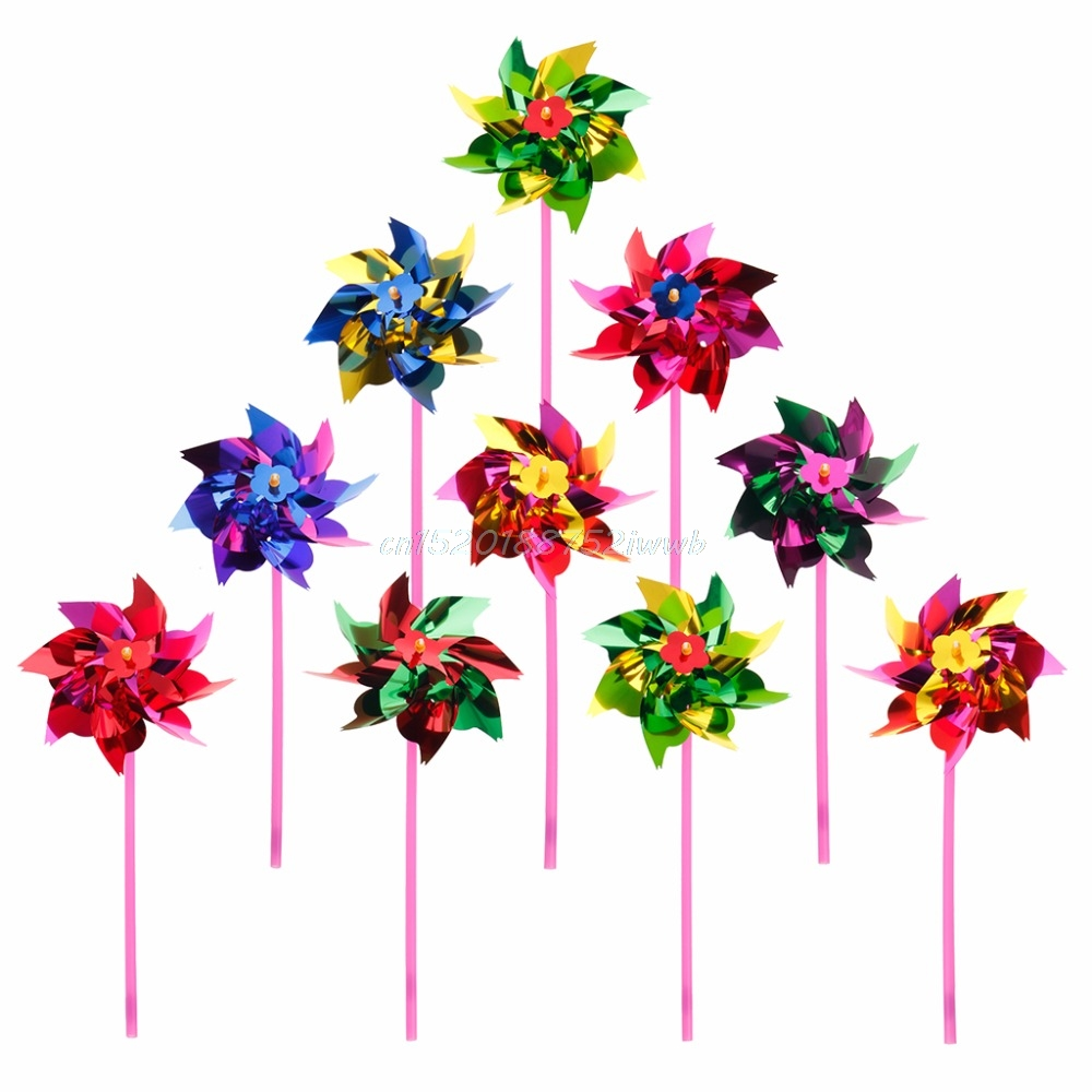 10pcs plástico molino de viento molinillo de viento Wind Spinner Kids Toy Garden Lawn Party Decor # T026 #
