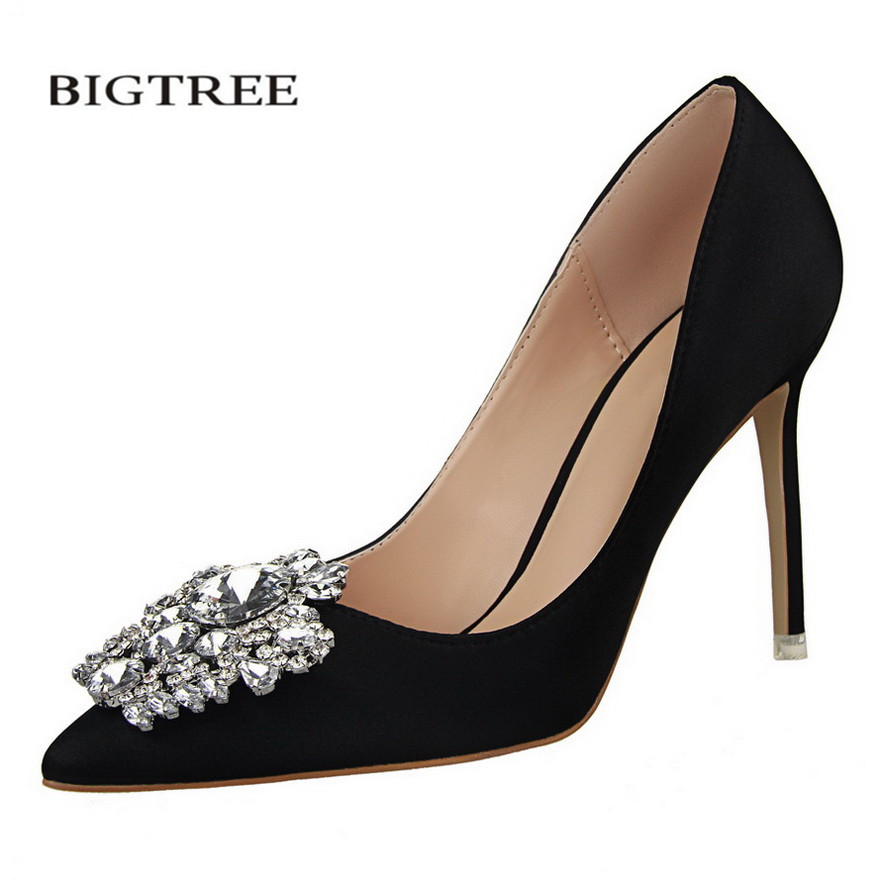 BIGTREE Spring Pumps Elegant Buckle Rhinestone Silk Satin High Heels Shoes Crystal Heeled Sexy Pointed Women Single Shoes G516-5 famiao new 2018 spring autumn women pumps elegant rhinestone silk satin high heels shoes sexy thick pointed single black shoes