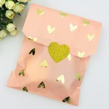 25 шт., сумка для свадебного торжества, подарок на свадьбу, день рождения, годовщину, Подарочная конфета, бумажный пакет, розовая и золотая фольга, сердце