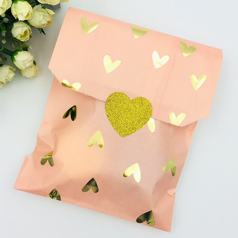 25pcs Wedding Favor Bag Bridal Shower Wedding Birthday Anniversary Favor Candy Gift Paper Bag Pink And Gold Foil Heart