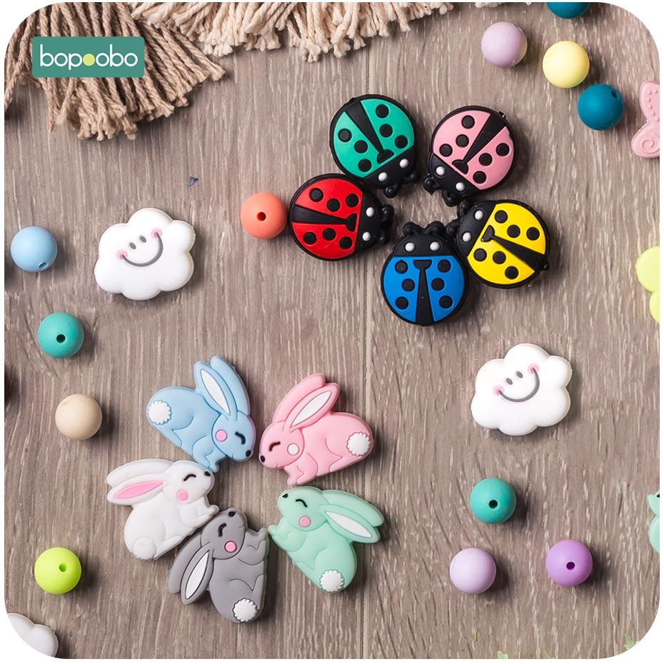 Bopoobo 5pc Silicone Teething Beads Mini Rabbi Silicone Ladybug Beads Nursing Accessories Cloud Beads Silicone Baby Teether