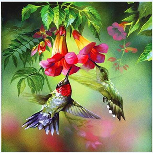 Diamanti e uccelli cartone animato animale con i fiori e dipinti