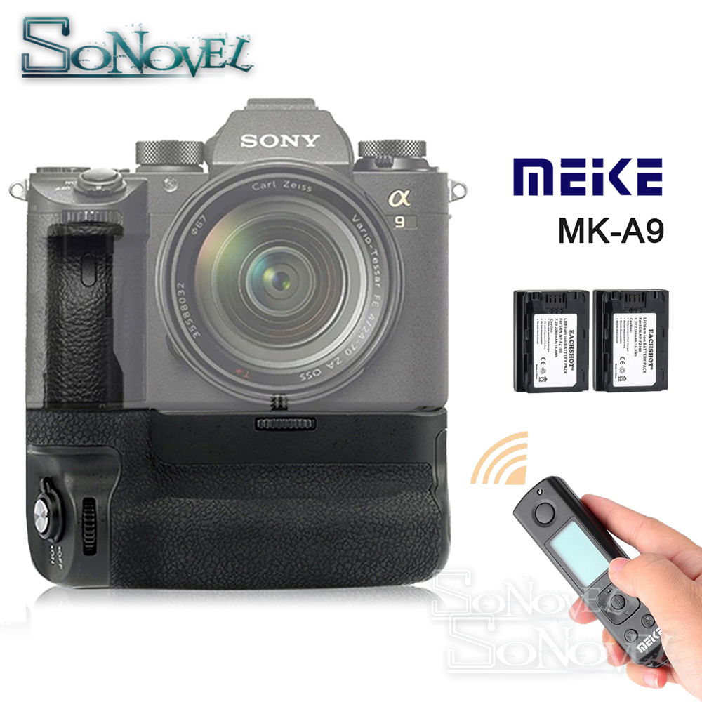 Meike MK-A9 PRO Battery Grip Holder + 2.4GHz Remote Controller + 2x NP-FZ100 Battery for Sony A9 A7RIII A7III A7 III Camera