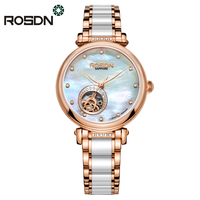 ROSDN Women Watches Top Brand Luxury Automatic Mechanical Watch Women Fashion Ceramics Skeleton Wrist Watch relogio feminino
