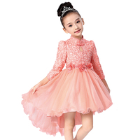 3 12 yrs Autumn Lace Flower Girls Dress Girls Clothing Princess Party Birthday Dovetail Dresses Girl Costume Kids Pink