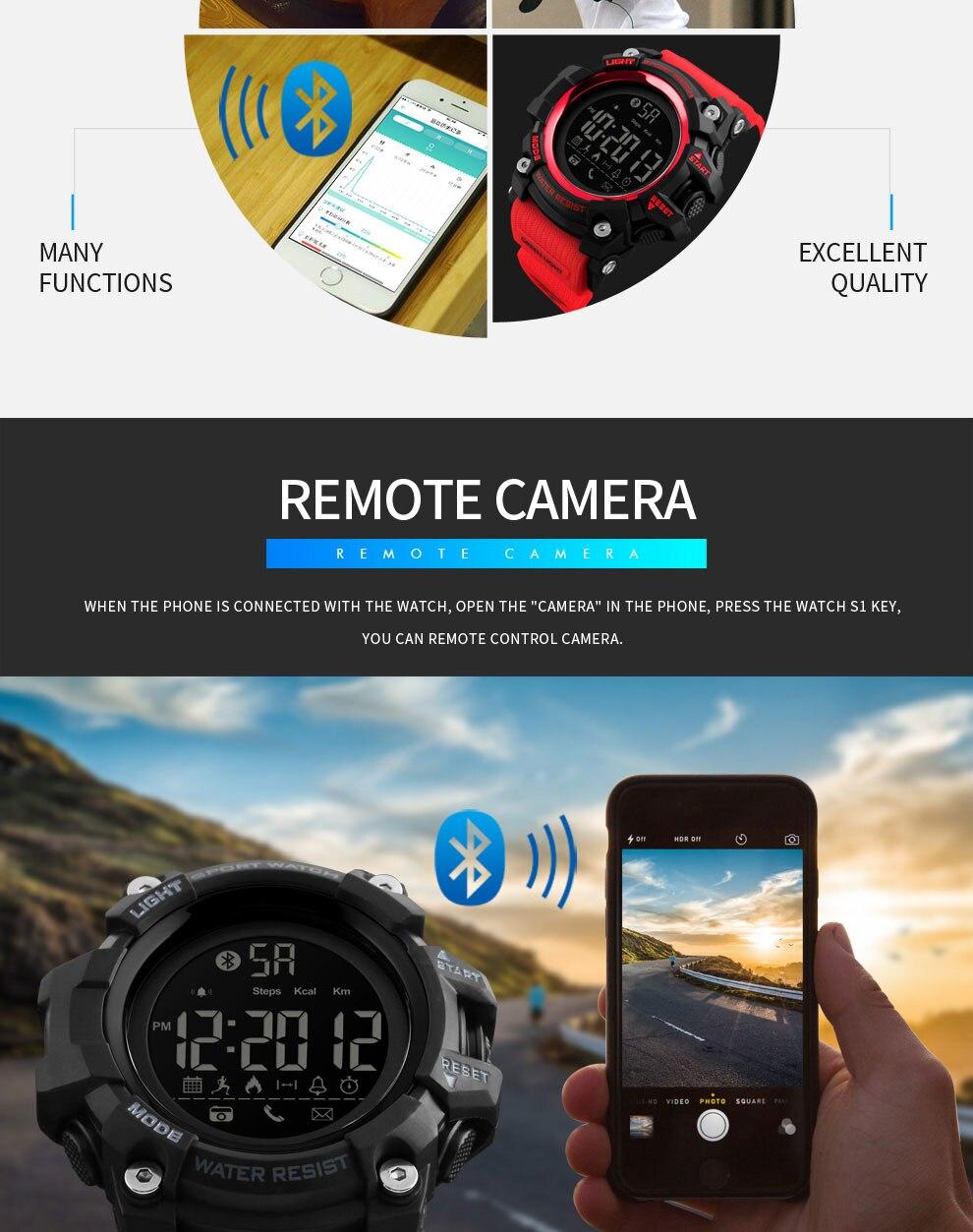 pedômetro calorias relógios digitais à prova dbluetooth
