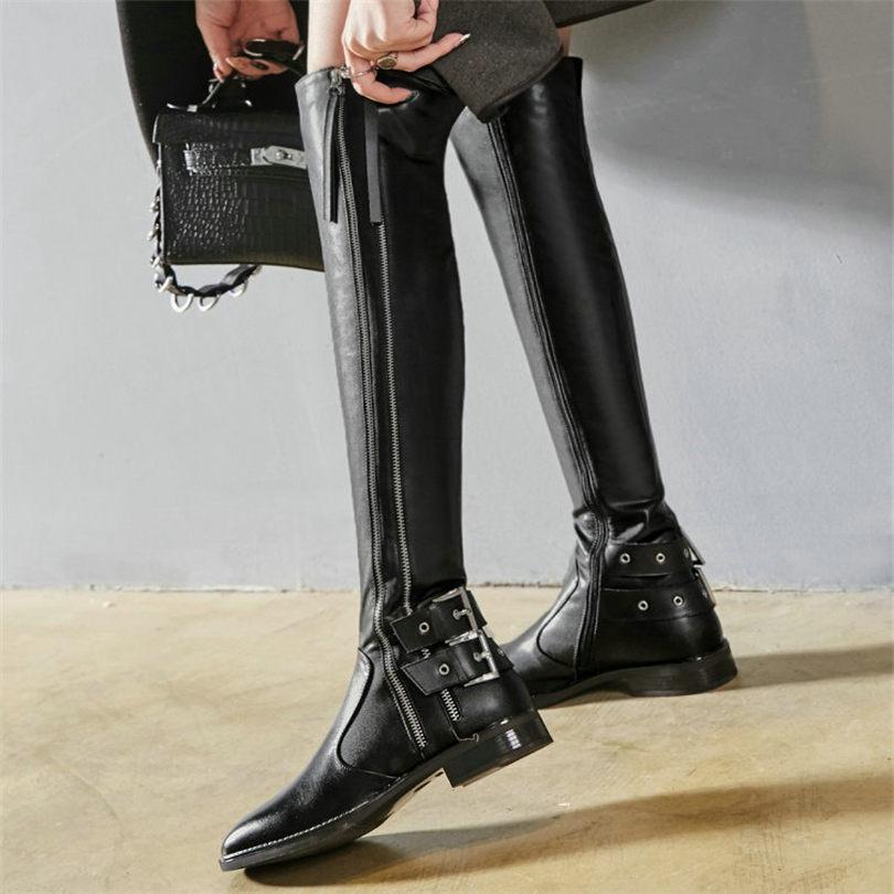 Mujer Eje Zapatos Muslo Alto Alta Por De La Del Bajo Punk Genuino Nuevo Nayiduyun Oxfords Tacón Rodilla Botas Cuero Negro Encima En qZHYx