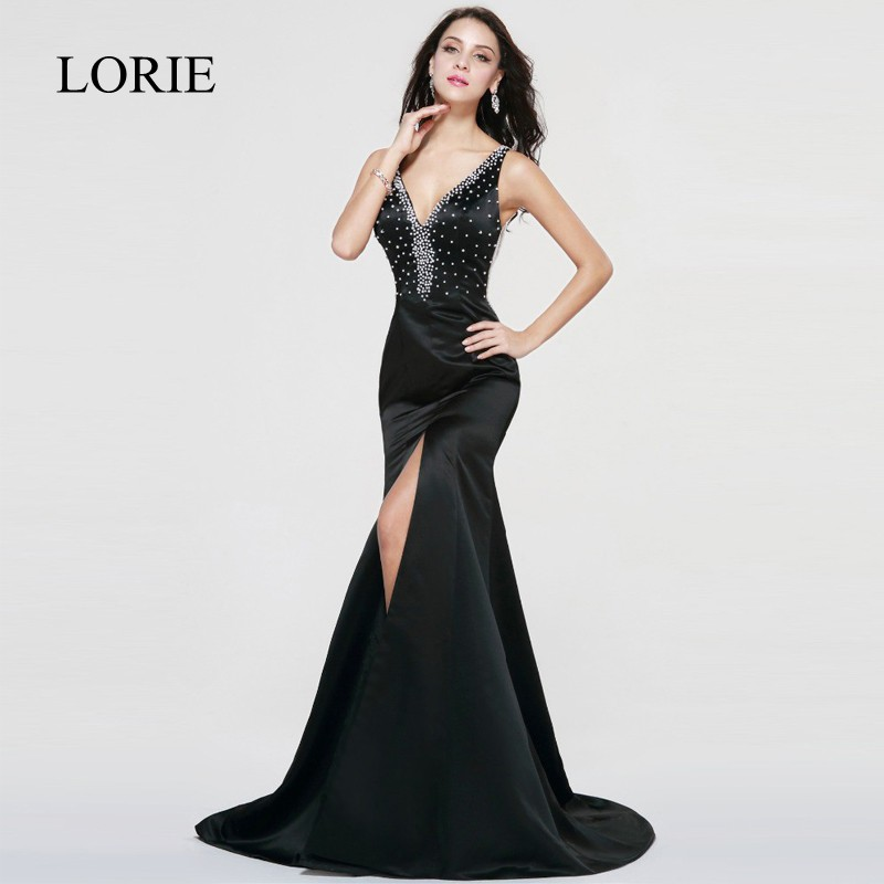Sexy Women Mermaid Party Evening   Dress   Long LORIE   Prom     Dresses   2018 Black Formal Evening Gown High Side Split Pearls Beading Top