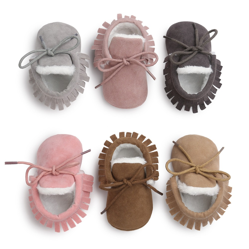New Brand Pu suede leather Toddler Baby moccasins winter keep warm with fur Snow lace-up Baby shoes