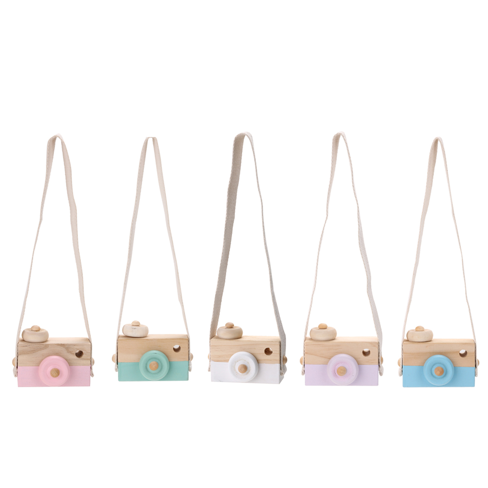 Cute Mini Wooden Toy Camera Kids Neck Hanging Camera Photography Prop Fashion Clothing Accessory Home Decoration Toy Cam K5BO