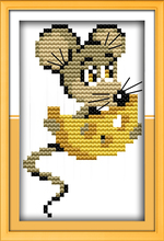 Mice ate the cheese cross stitch kit cartoon 11ct count canvas stitches embroidery DIY handmade needlework plus