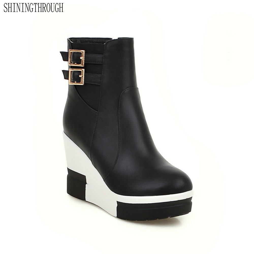 SHININGTHROUGH Black Red New Fashion Sexy Women's Ankle Boots Wedges High Heels Punk Platform Women Autumn Boots Ladies Shoes