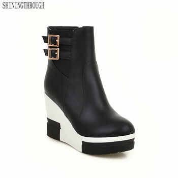 SHININGTHROUGH black red New Fashion sexy women\'s ankle boots wedges high heels Punk platform Women autumn boots ladies shoes - DISCOUNT ITEM  50% OFF Shoes