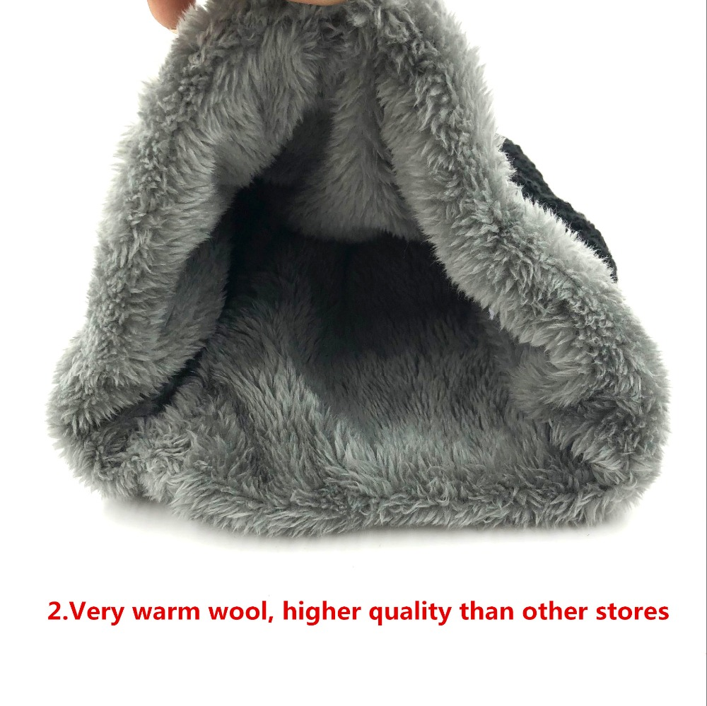 Child 2pcs super warm Winter balaclava wool Beanies Knitted Hat and scarf for 3-12 years old girl boy hats 5