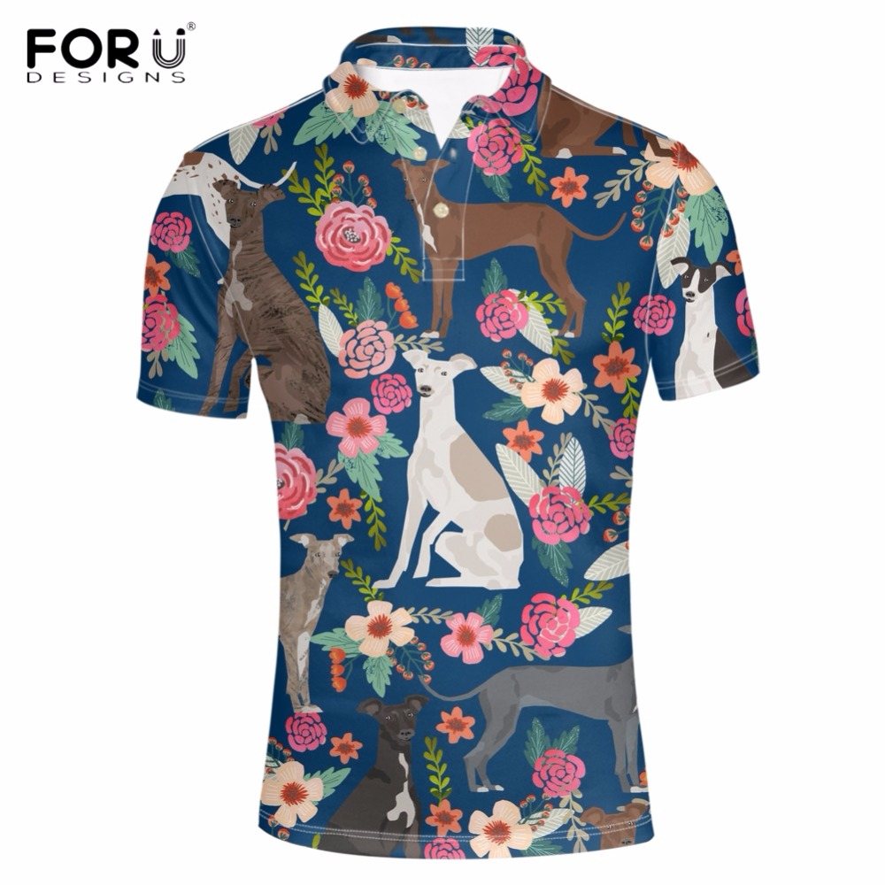FORUDESIGNS Cute Animal Greyhound Dog Print Men Polo Shirts Brand Designer Male Summer Short Top Tees Fashion Golftennis Clothes