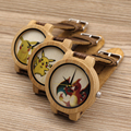 BBOBO BIRD E8 Mens Montopia Pokemon Colorful Faces Design Brand Luxury Wooden Bamboo Watches With Real Leather Bands in Gift Box