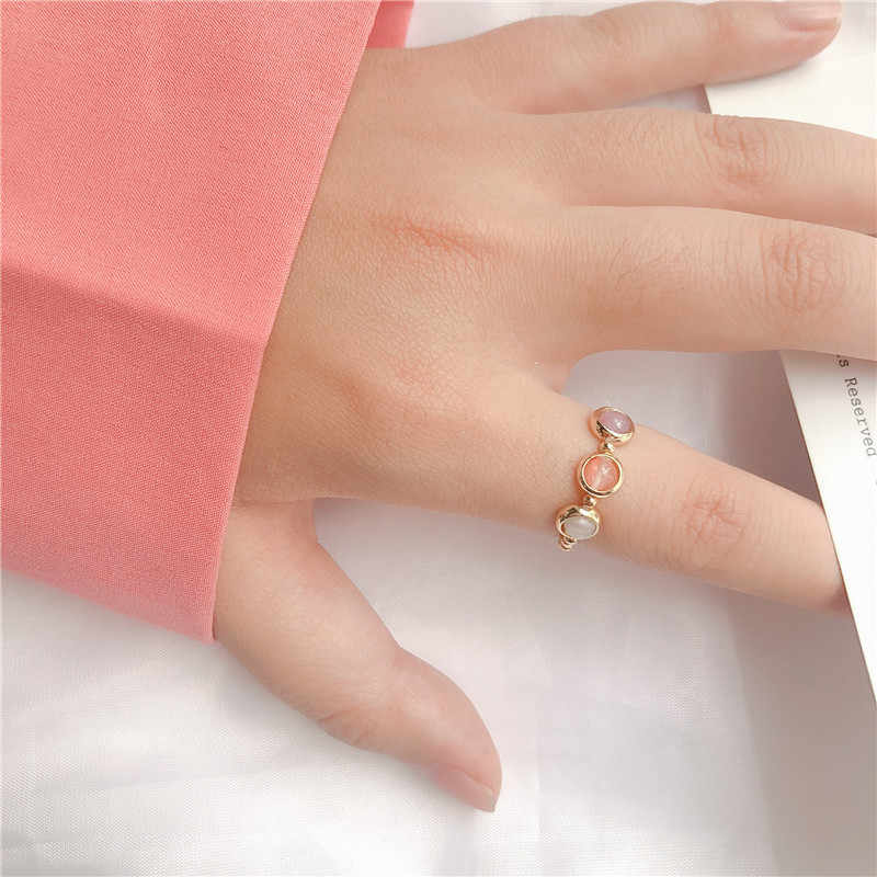 New Arrival Cute Simple Style Three Color Stone Beads Elastic Ring For Women Girls Finger Jewelry Birthday Gifts