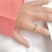 New Arrival Cute Simple Style Three Color Stone Beads Elastic Ring For Women Girls Finger Jewelry Birthday Gifts(China)