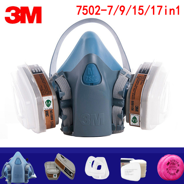 7/9/15/17in1 3M 7502 Gas mask Chemical Respirator Protective Mask Industrial Paint Spray Anti Organic Vapor 6001/2091 filter 1