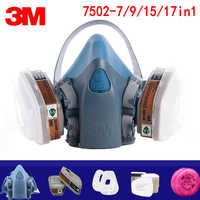 7/9/15/17in1 3M 7502 maschera Antigas Respiratore chimico Maschera di Protezione Industriale Vernice Spray Anti Organico vapore 6001/2091 filtro