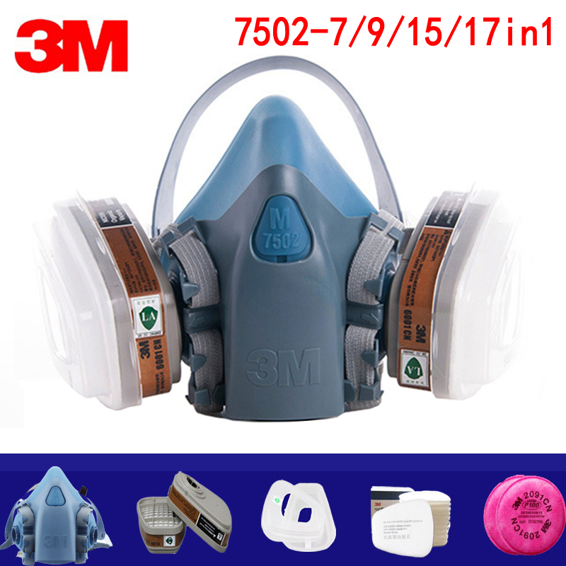 7/9/15/17in1 <font><b>3M</b></font> 7502 Gas mask Chemical Respirator Protective Mask Industrial Paint Spray Anti Organic Vapor <font><b>6001</b></font>/2091 filter image