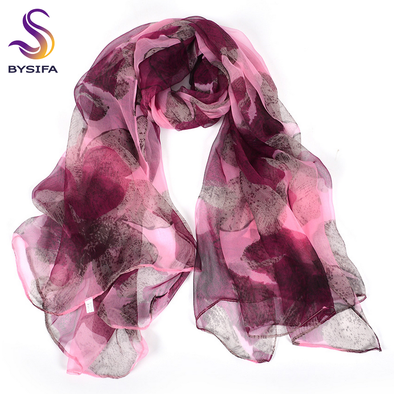 [BYSIFA] Purple Pink Ladies Silk   Scarf   Shawl New Fashion Accessories Floral Design Large Long   Scarves     Wraps   For Spring Autumn