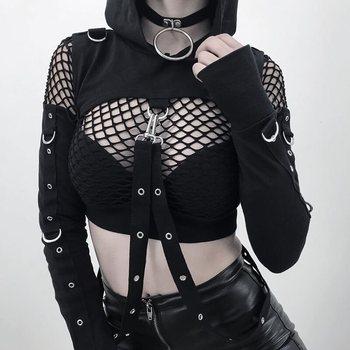 27f3e89ce2 Halloween negro agujero Sudadera con capucha gótico fuera del hombro  sudaderas con capucha mujeres moda Cool cremallera Fitness Streetwear chica  Top