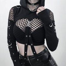 Rosetic Black Hole Hoodie Sweatshirt Gothic Off Shoulder Hooded Hoodies