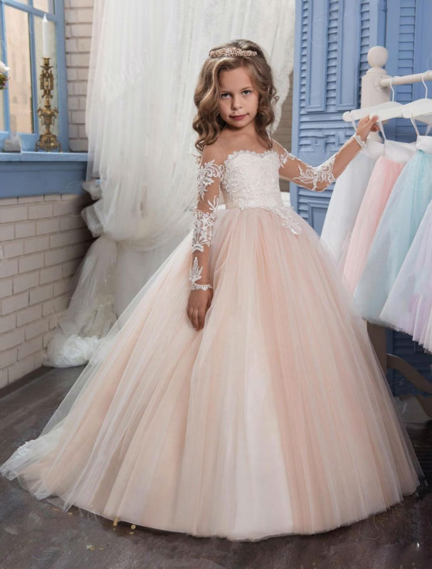 Long Sleeve 2017 Romantic Champagne Puffy Flower Girl Dress for Weddings Organza Ball Gown Mother Daughter Dresses For Girls vintage round collar long sleeve embroidered organza dress for women page 7