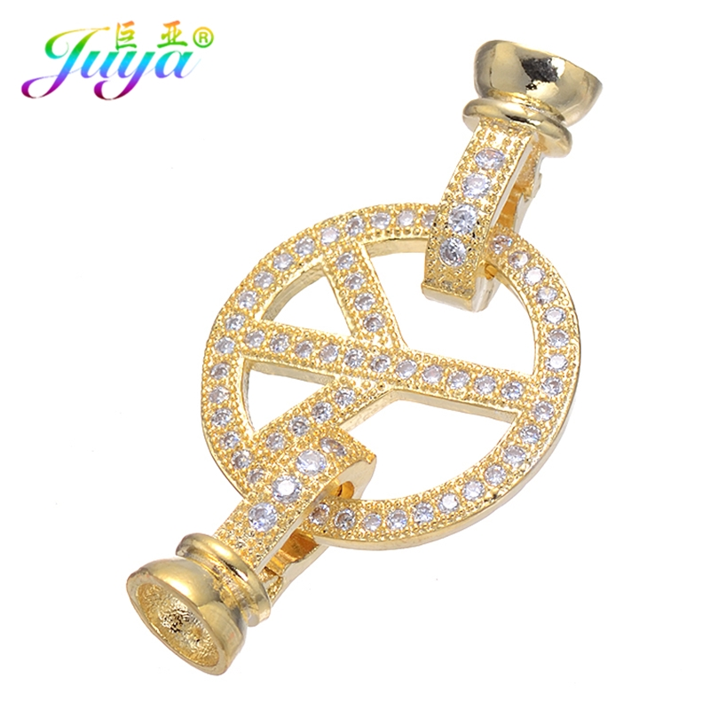 Beadwork Jewelry Components Gold/Silver Peace Symbol Charm Fastener Pearls Clasp Accessories For Women Beads Jewelry DIY Making
