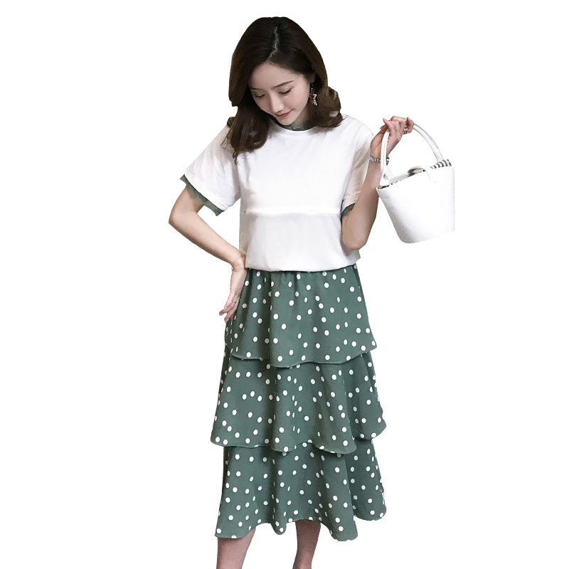 Zipper breastfeeding clothes set postpartum women summer fashion short sleeve nursing tees+ruffles polka dot chiffon skirt suits
