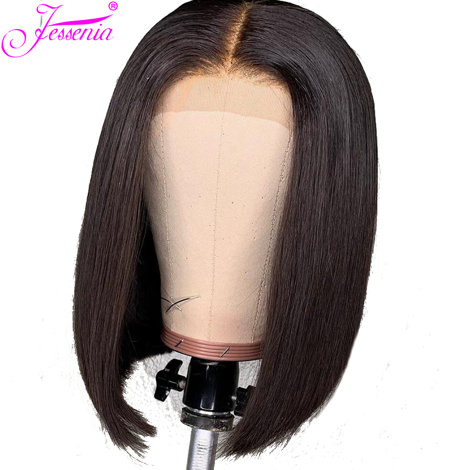 Lace Front Human Hair Wigs Brazilian Remy Straight Hair 13x4 Short Bob Wig With Pre Plucked Hairline With Baby Hair