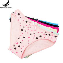 Prettywowgo 6 pcs New Arrival 2019 Lovely Briefs Panties Printed Women Cotton Underwear 9199