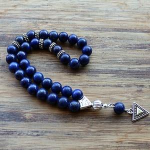 Image 4 - 8mm Lazuli Beads with hand charm Round Shape 33 Prayer Beads Islamic Muslim Tasbih Allah Mohammed Rosary For Men&Women
