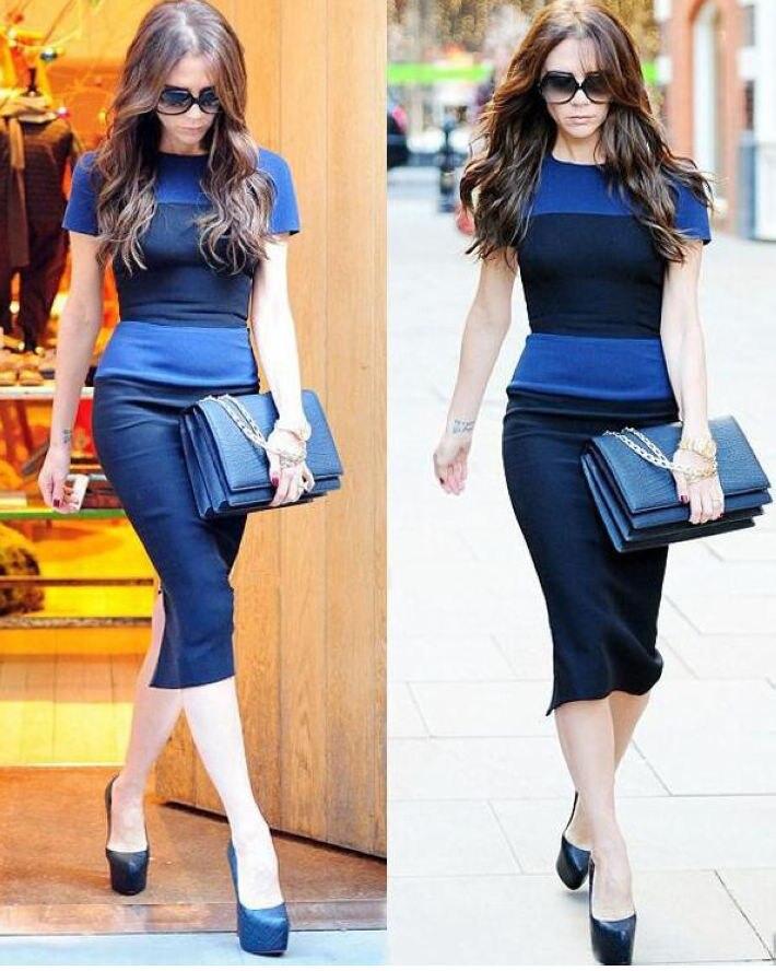 wd001 тела место хлопок бренд знаменитости платья для женщин по виктория бекхэм новое платье 3 цветов СМЛ хl ххl 2 длина