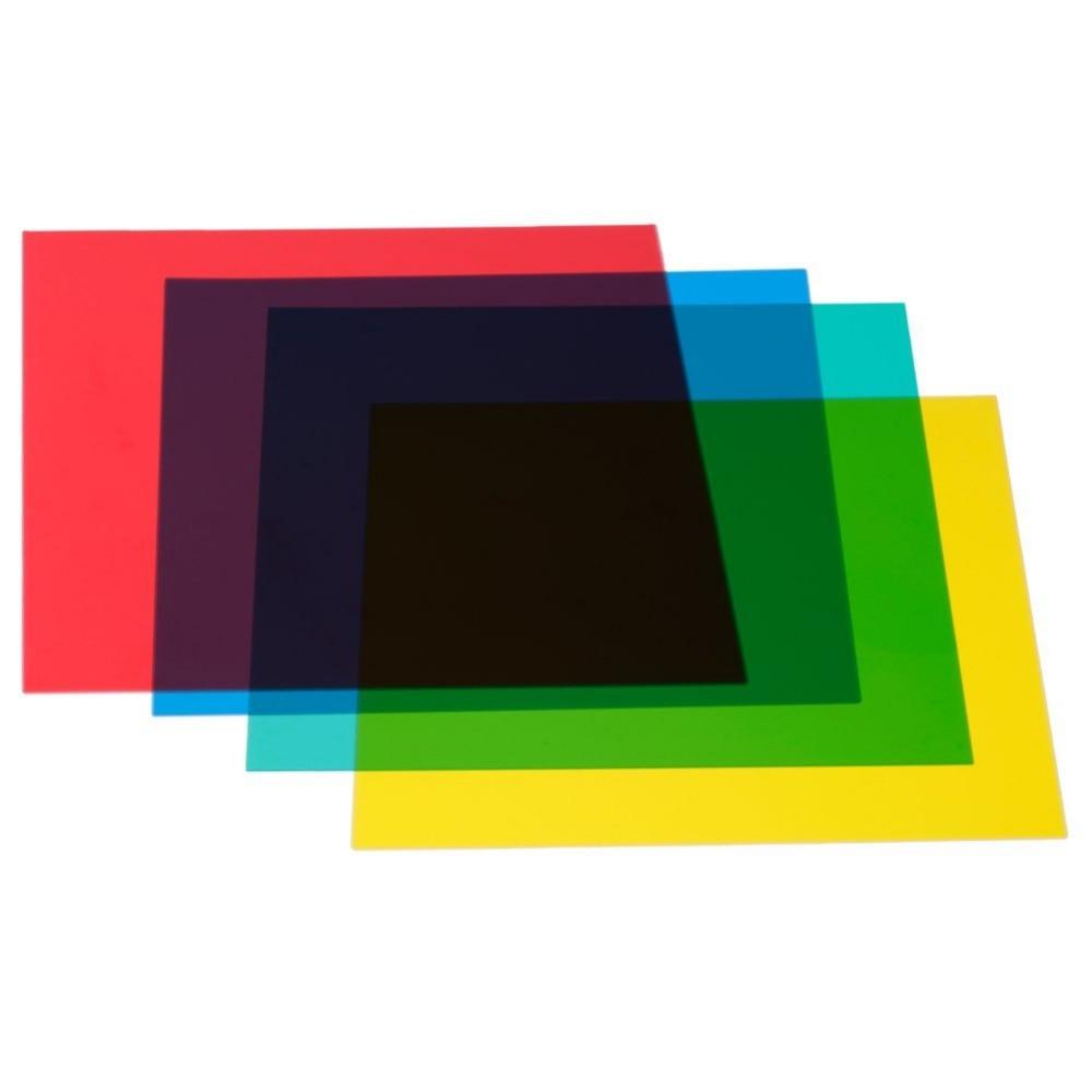 Neewer 12 x 12/30x30 cm Couleur Correction Gels Ensemble 4-couleur Gel Filtre Film pour vidéo Light Studio Flash Stroboscopique