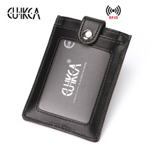 CUIKCA New RFID Wallets Women Men Wallet Pull Type ID Credit Card Holders Hasp Slim Leather Wallet Purse Carteira Card Cases